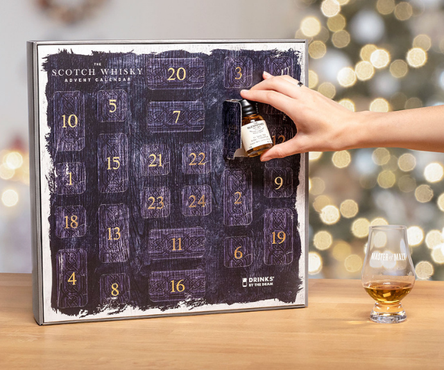 "**Scotch Whisky Advent Calendar, $227, available from [Master of Malt](https://www.masterofmalt.com/whiskies/drinks-by-the-dram/scotch-whisky-advent-calendar/|target=""_blank"")**<br><br>  Includes 24 different wax-sealed glass drams by 21 Scottish distilleries."