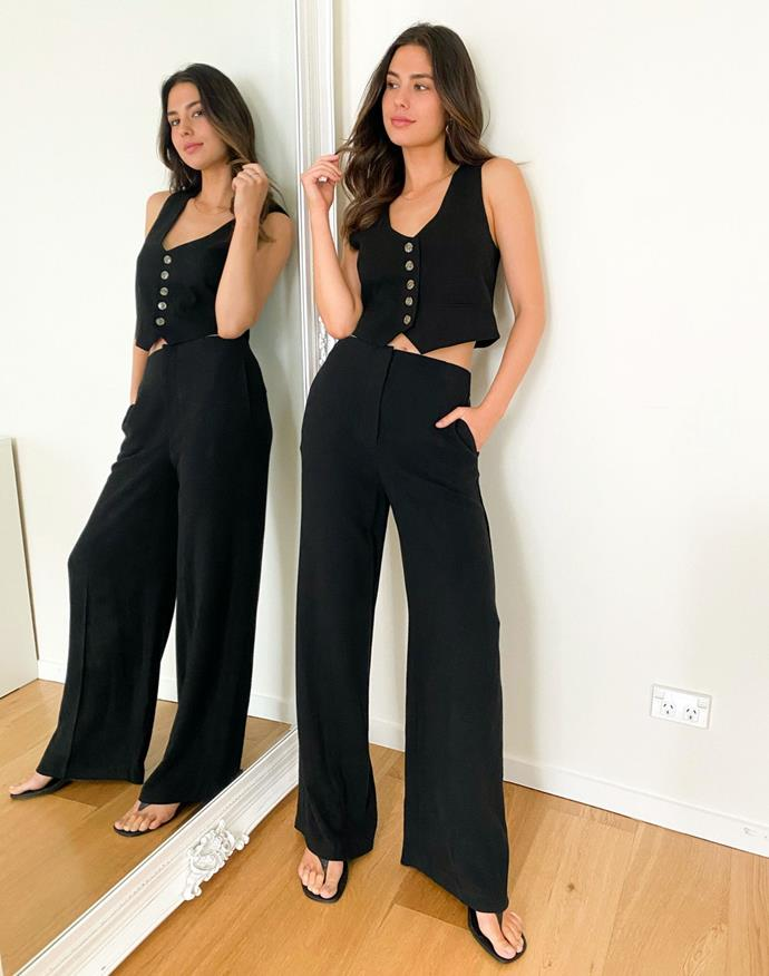"""Glassons Tailored Wife Leg Pant (in linen), $49.99. **[Buy them online here](https://www.glassons.com/tailored-wide-leg-pant-pw46474pln-black