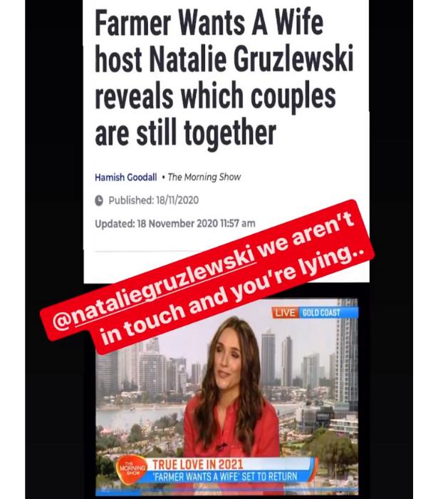 Justine slammed Natalie's claims via her Instagram Stories this week.