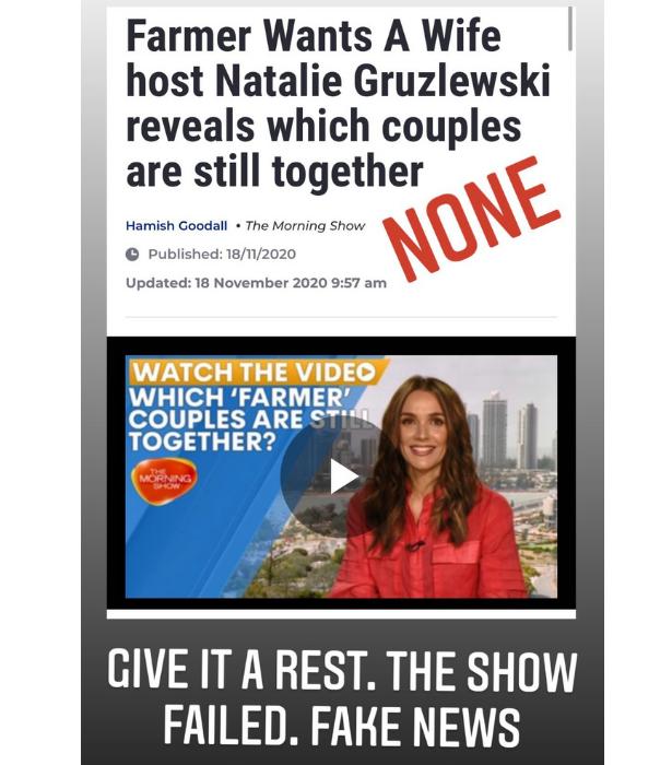 "Contestant Liz Jelléy labelled Natalie's comments as ""fake news."""