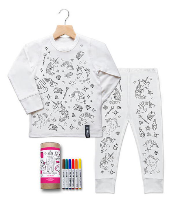 """**Selfie Clothing Co [Colour-in Pyjama Set](https://www.uncommongoods.com/product/color-in-unicorn-pajamas