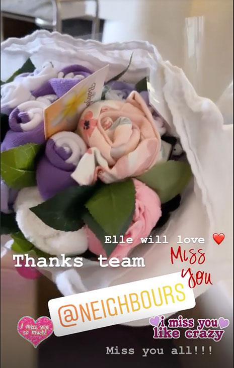 Tim's former *Neighbours* cast and crew sent his new daughter Elle this very generous present.