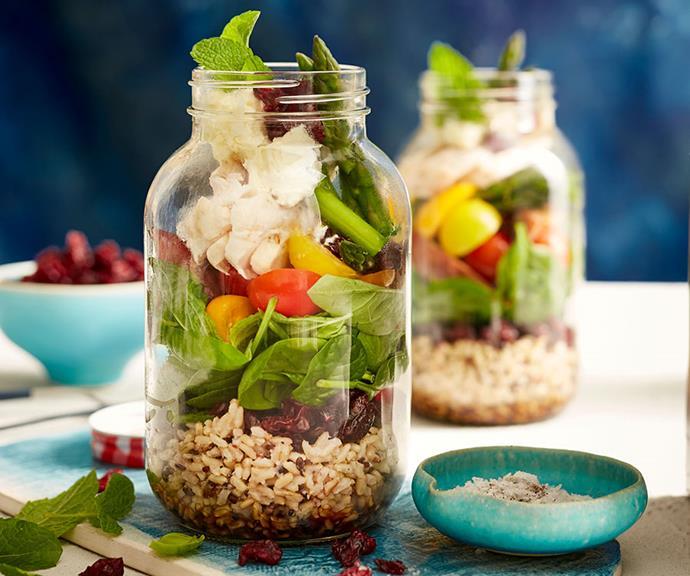 Salad jar with chicken and Craisins®. Photography: Ben Hansen, Salt Studio