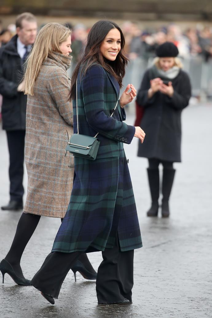 It was January 2018, COVID-19 didn't exist, people danced at bars... and Meghan Markle wore this heavenly tartan ensemble on her first royal walkabout in Edinburgh. It was a moment in time never to be forgotten - and marked the beginning of our own love affair of Strathberry bags, of which Meghan is a huge fan. Check out our favourite match up styles below.