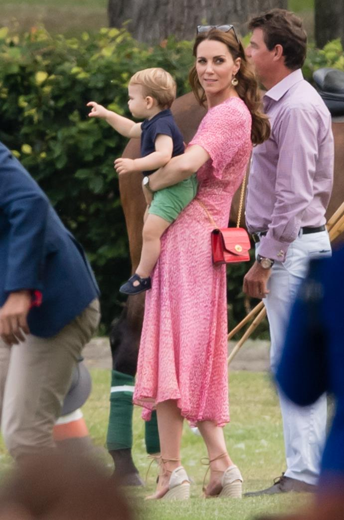 Proving functional fashion is as stylish as ever, Kate's fave handbag brand Mulberry did the trick on her big day out at the polo in 2019. Perfect for holding a pair of sunnies, tissues, or maybe just a spare bandaid for Prince Louis who no doubt caused some ruckus. Check out our favourite match ups below.