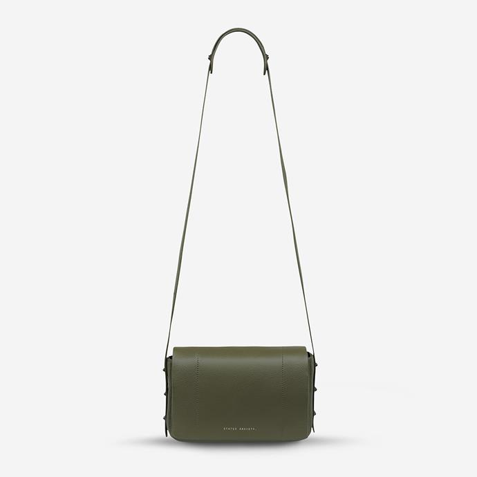 """Status Anxiety gives good bag - and this khaki cross body mini is the definition of perfection. At $199.95, it's a splurge worth spending - it'll last you for ages, trust us. **[Buy it online here](https://www.statusanxiety.com.au/products/succumb-bag-khaki