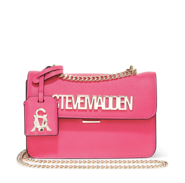 """If you want to make a statement, this Steve Madden creation is the way to go. With a golden chain and a clear cut logo, it's your go-to party bag. $79.00 (on sale), **[buy it online via David Jones here](https://www.davidjones.com/Product/23173914