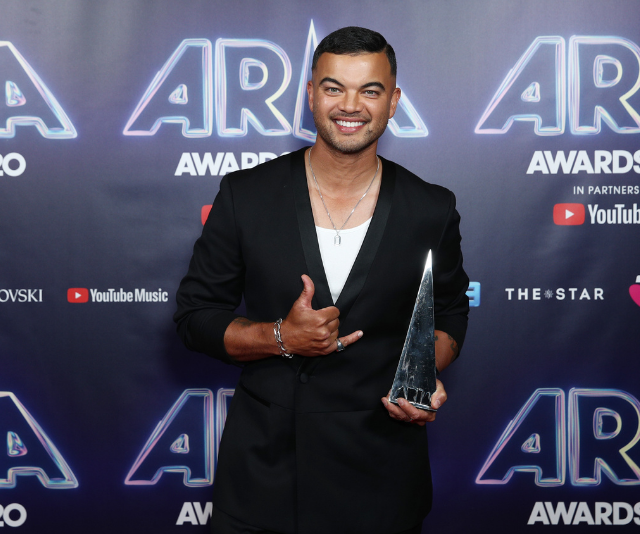 **Guy Sebastian**<br><br>  Guy changes into something a little more sleek to claim his ARIA win for Best Video.
