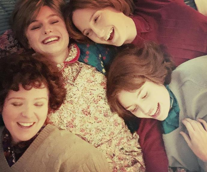 """""""Flatmates,"""" the director mused next to this candid snap of Diana with her roomies."""