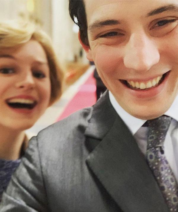 Charles and Di off-duty: Emma Corrin and Josh O'Connor share a giggle between takes.