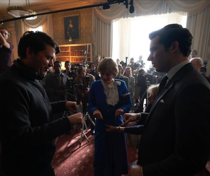 Director Benjamin Caron overlooks a scene with Emma and Josh.