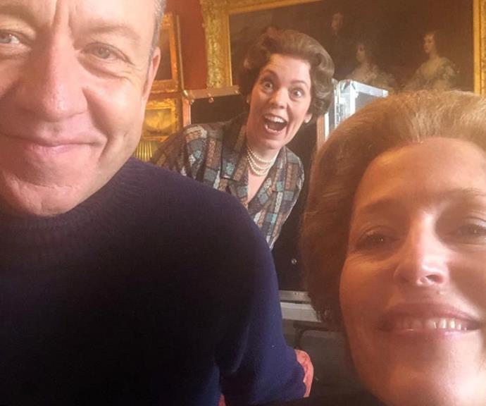 """""""The Queen of photo bombs,"""" [Gillian Anderson](https://www.nowtolove.com.au/tags/gillian-anderson target=""""_blank"""") captioned this animated snap."""