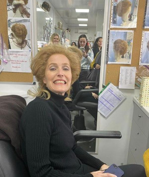Becoming Margaret Thatcher: It takes hours of hair and makeup to transform Gillian Anderson into the former British PM, including an assortment of wigs.