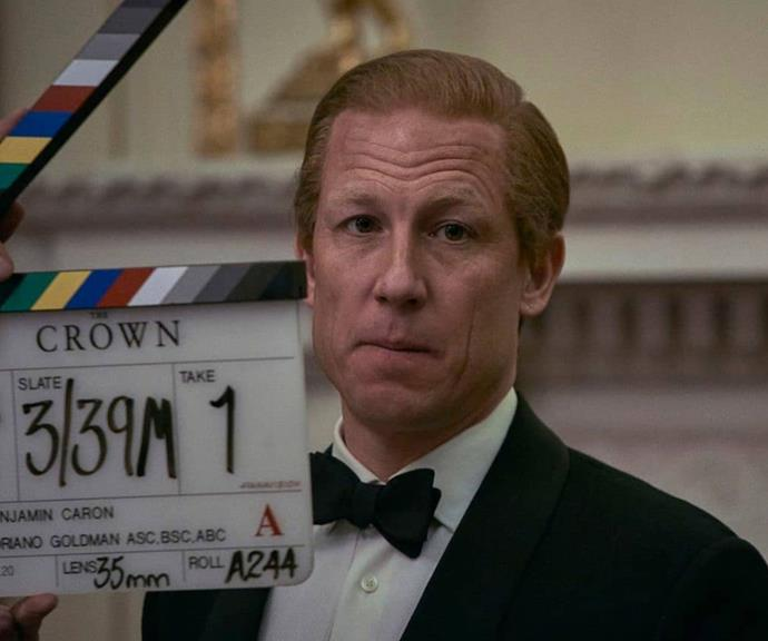Lights, camera, action: Tobias Menzies gets into character as Prince Philip.