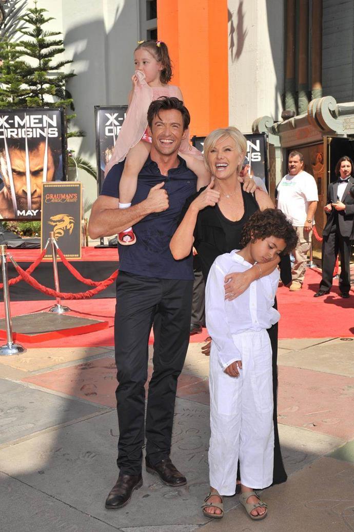 Hugh and Deborra-Lee with daughter Ava and son Oscar.
