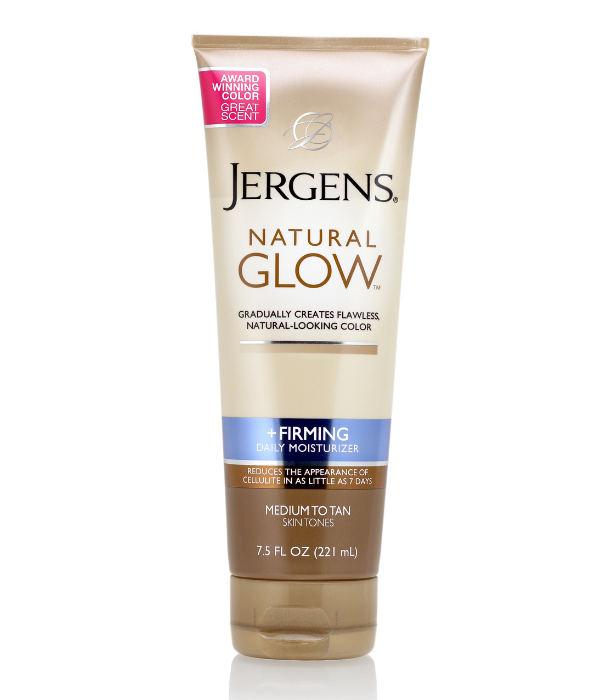 "**Jergens Natural glow + firming daily moisturiser**<br><br> Gradually creates fabulous natural-looking colour with a subtle skin-darkening complex. In as little as 7 days you'll experience visibly firmer skin with less noticeable cellulite and improved elasticity.<br><br>  Shop it [here](https://www.jergens.com/en-au/products/natural-glow/skin-firming-moisturiser/|target=""_blank"") for $14.99."