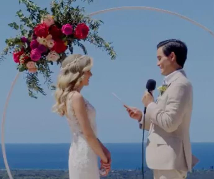 The pair exchanged heartfelt vows in front of their loved ones at Sundays At Byron.