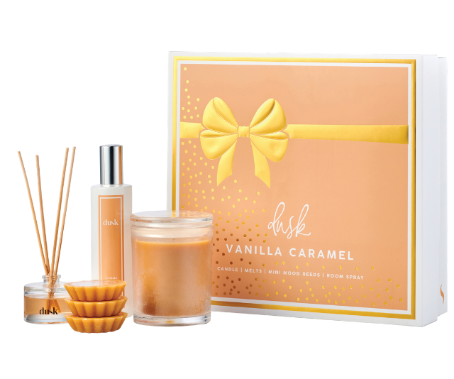 **Dusk's Signature Lover Sets, $54.99:** Dusk's Signature Lover Sets are a collection of our most loved fragrances in our most favoured products. Each set includes a 1 Wick Candle, a 30mL Mini Mood Reed diffuser, 3 wax melts for your oil burner and a 100mL Room spray, all enclosed in a deluxe gold foil box.  With 8 different fragrances to choose from, there is something for everyone.