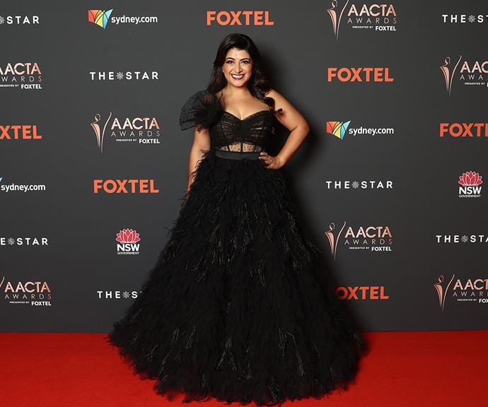 Comedian and AACTA host Susie Youssef makes a jaw-dropping entrance in this dazzling black tulle creation.