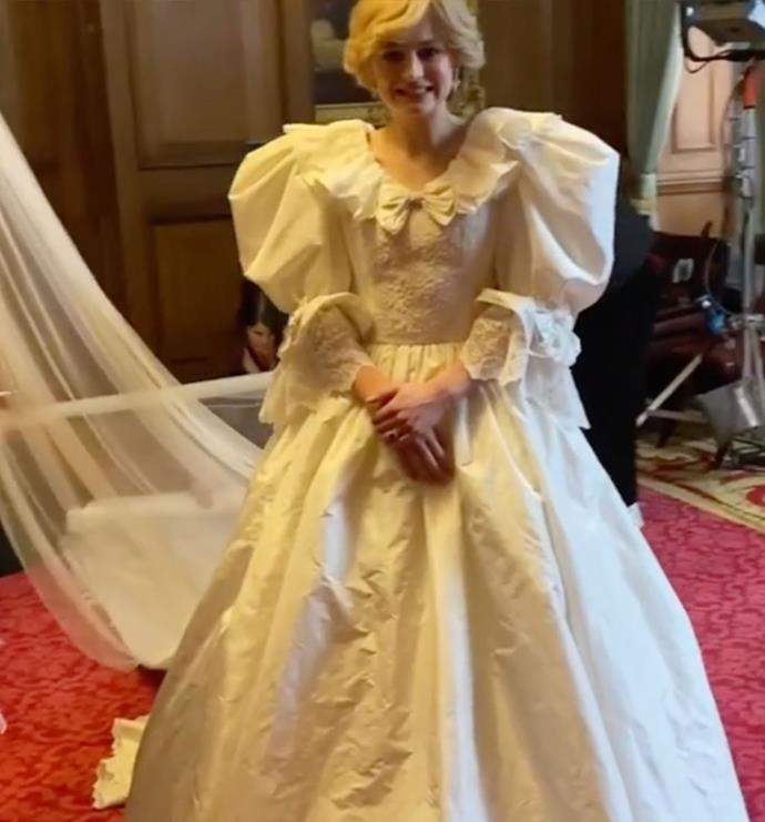 """""""The wedding dress was a huge, huge thing. It went on very gradually and there were so many fittings for hours,"""" Emma explained to *The Australian Women's Weekly* of re-creating Princess Diana and Prince Charles' iconic 1981 wedding day."""