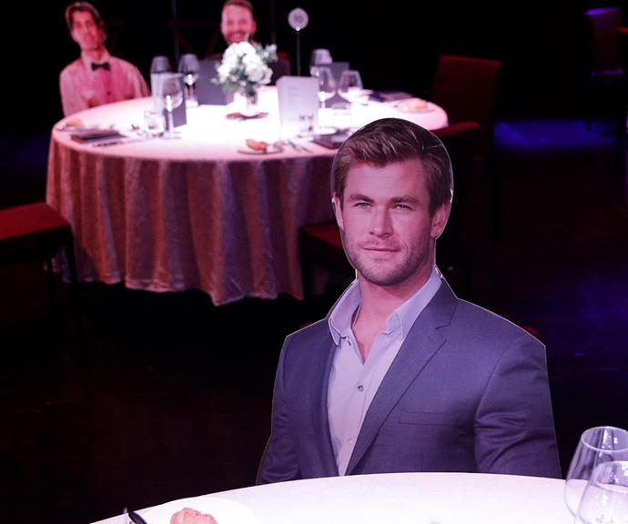 This is what award shows look like in 2020! A cardboard version of Chris Hemsworth pads out empty tables. And can you spot the cut-out versions of Hamish and Andy in the background, too?