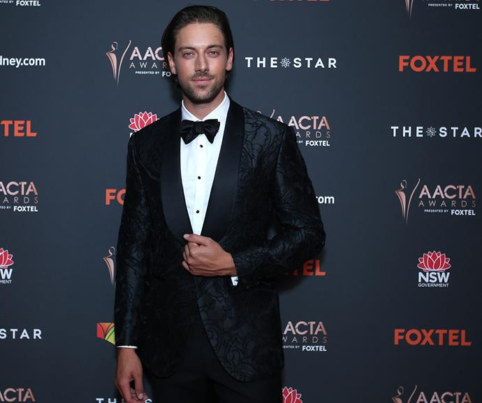 Former *Home And Away* star Lincoln Younes can do no wrong in this tux with a twist - how chic is the felt floral pattern?