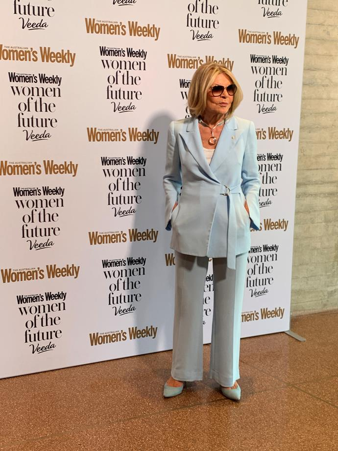 Carla Zampatti looked as stylish as eve in this powder-blue suit.
