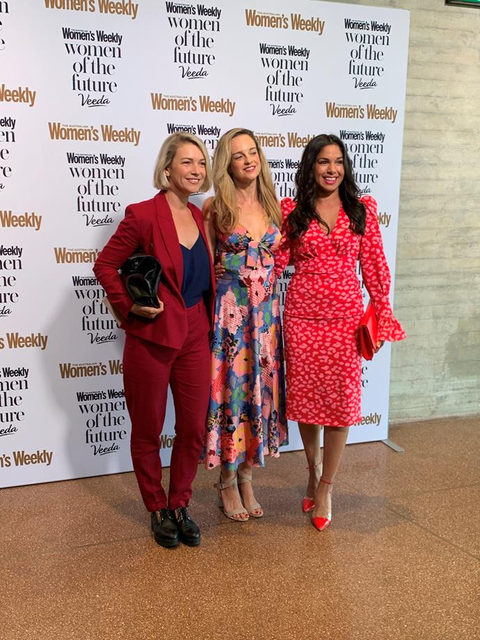 Sarah was joined by fellow *Home and Away* co-star Penny McNamee and 2017 Women of the Future Award winner Saskia Hampele.