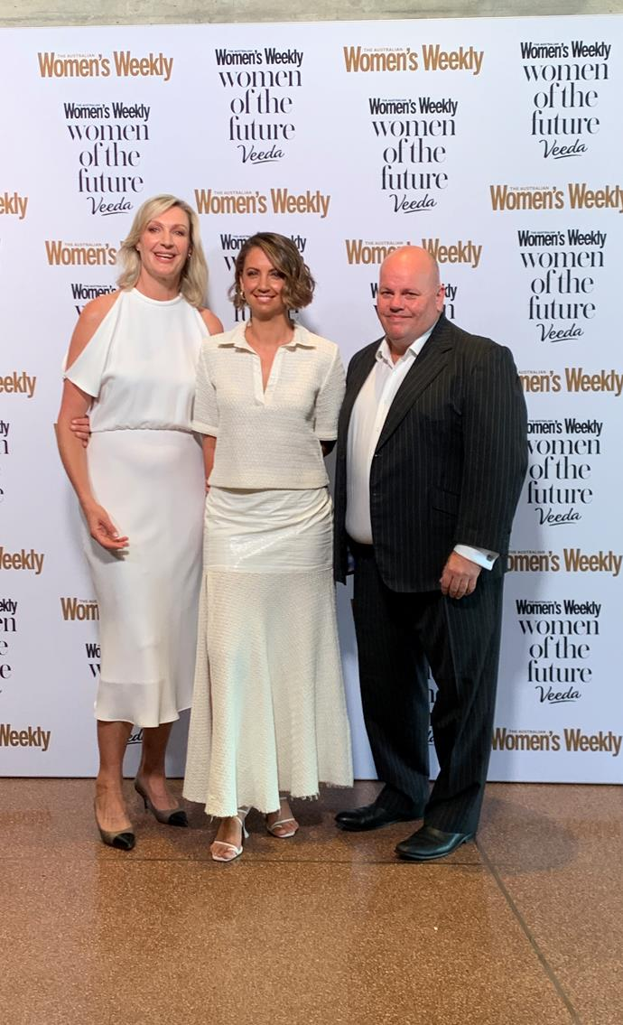 What a lineup! Women's Weekly Editor-In-Chief Nicole Byers, the event MC and TV icon Brooke Boney and Veeda CEO Adrian Forsyth share a red carpet snap.