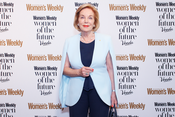 Women of the Future judge Ita Buttrose wore a beautiful cornflower-blue cape - heroes do wear them!