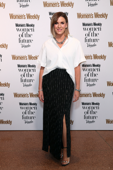 Kylie Gillies was chic in a monochrome ensemble.