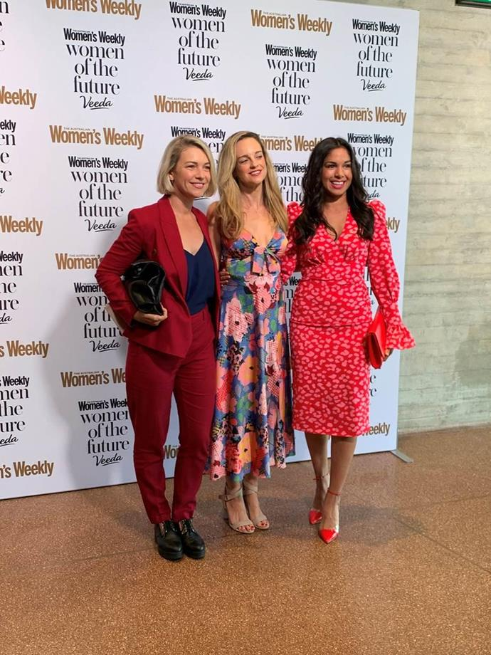 Saskia Hampele, Penny McNamee and Sarah Roberts at the Women of the Future Awards together on Thursday.