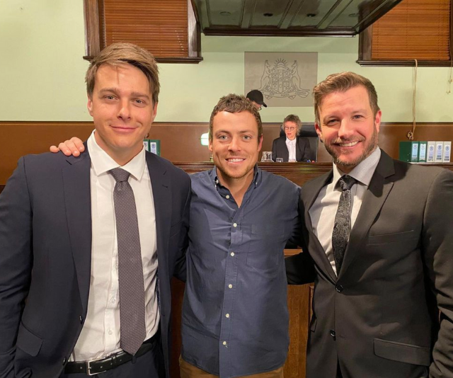 Tensions in the courtroom may have reach boiling point, but off camera Tim, Dean and Luke couldn't be closer.