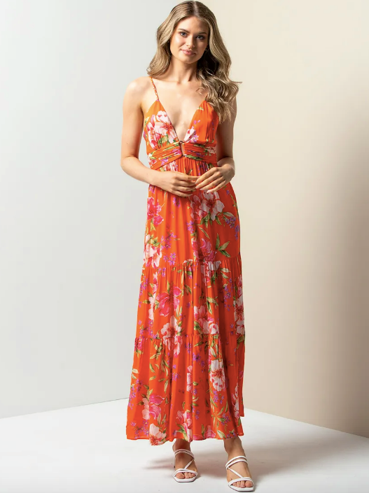 "Forever New Tilly Resort Maxi Dress, $139.99. [Buy it online here](https://www.forevernew.com.au/265904-265904?colour=tangerine-tropical|target=""_blank""