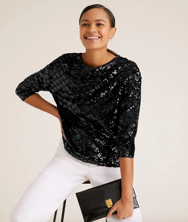 "Marks & Spencer Sequin Long Sleeve Top, $75. [Buy it online here](https://www.marksandspencer.com/au/sequin-long-sleeve-top/p/P60472754.html|target=""_blank""