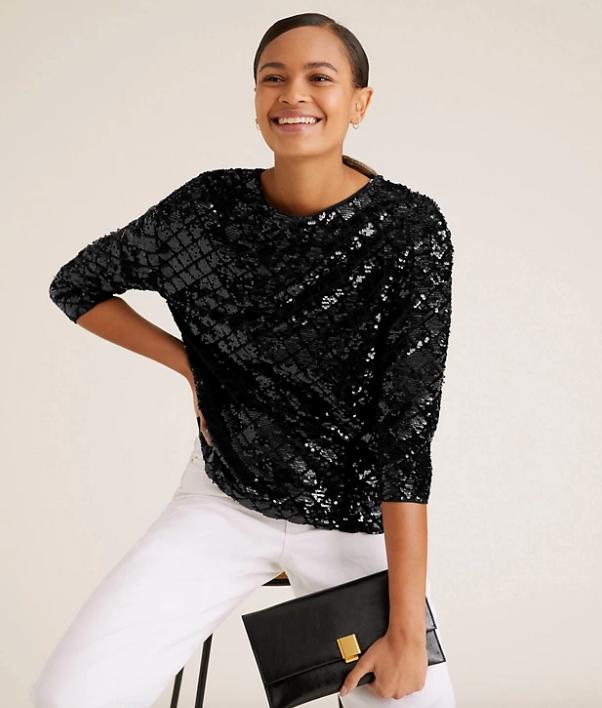 "Marks & Spencer Sequin Long Sleeve Top, $75. [Buy it online here](https://www.marksandspencer.com/au/sequin-long-sleeve-top/p/P60472754.html|target=""_blank""|rel=""nofollow"")."