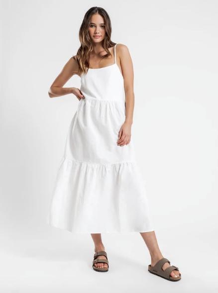 "Nude Lucy Miles Linen Midi Dress in White, $99.95. [Buy it online via Glue Store here](https://www.gluestore.com.au/products/miles-linen-midi-dress-in-white|target=""_blank""|rel=""nofollow"")."