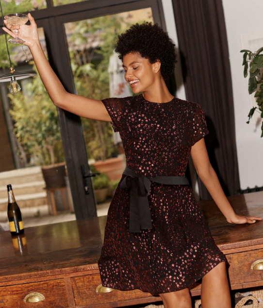 "Boden Bettina Dress, $132. [Buy it online here.](https://www.bodenclothing.com.au/en-au/bettina-dress-black-and-copper-clip-spot/sty-w0685-blk?cat=C1_S2_G4|target=""_blank""|rel=""nofollow"")"