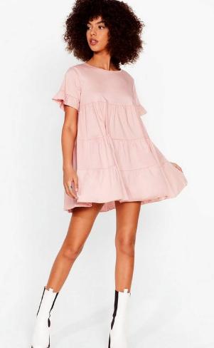 "Nasty Gal Leave 'Em in Tiers Ruffle Mini Dress, $44 (on sale). [Buy it online here](https://www.nastygal.com/au/leave-em-in-tiers-ruffle-mini-dress/AGG47075-2.html?color=158|target=""_blank""|rel=""nofollow"")."