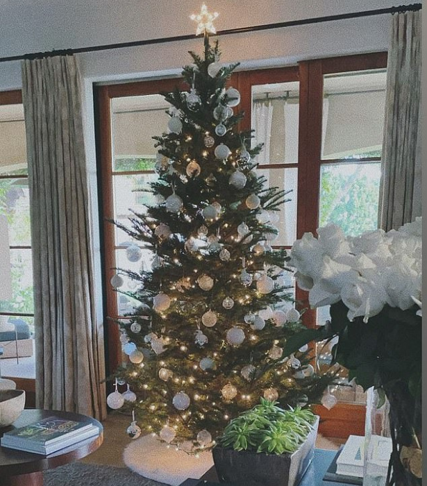 **Pia Miller**<br>The former *Home And Away* star opted for a simple yet stunningly chic all-white and silver scheme for the tree in her luxurious Malibu abode.