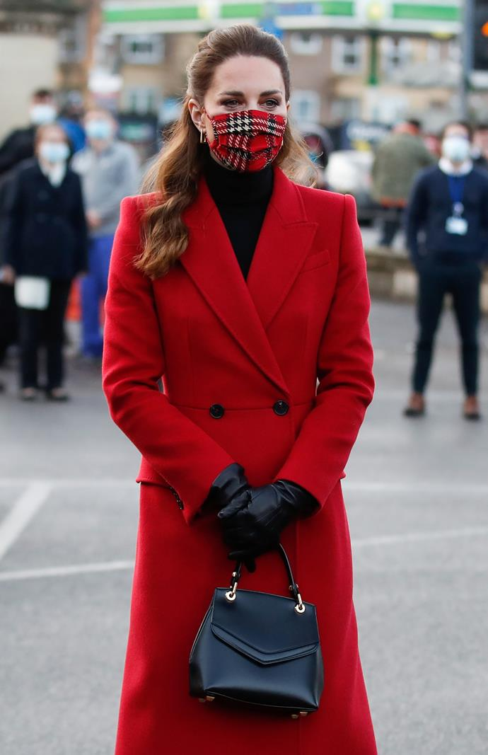 Yep - a matching tartan face mask! She pulled out all the stops for this one, clearly!