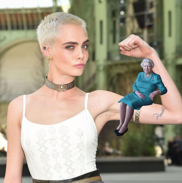 """One of our personal faves - The Queen on Cara Delevingne. """"Had to,"""" the model wrote."""