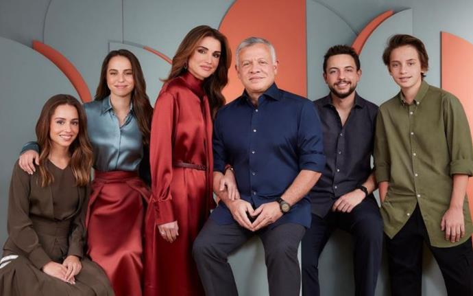 Queen Rania, her husband King Abdullah II and their four children are pictured.