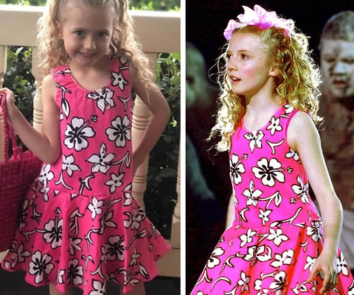 To celebrate the 20-year anniversary of the Sydney Olympics, Nikki's mini-me daughter Skylah (L) tried on her mum's iconic pink Hawaiian-print dress.