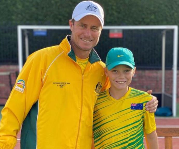 """Dad's double: """"So proud that you're my boy,"""" Lleyton shared next to this sweet snap with his mini-me son."""