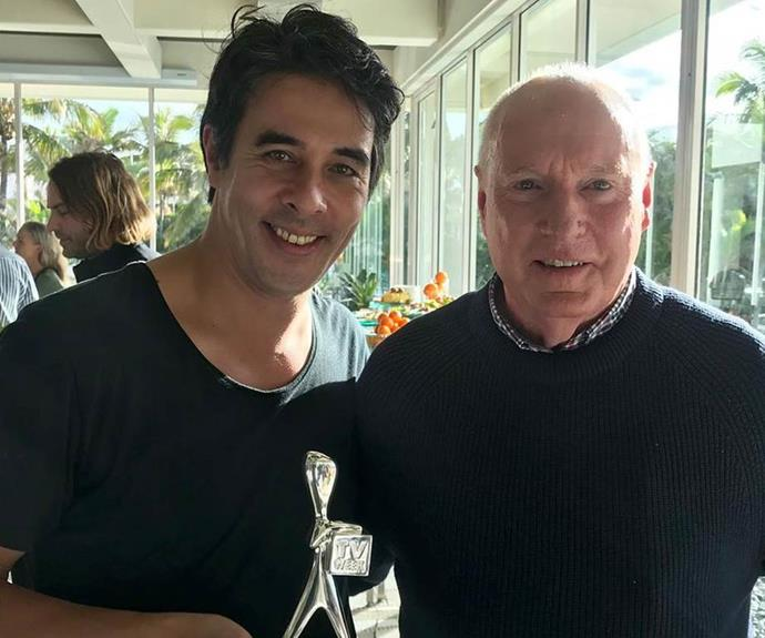 Strewth! Nick rubs shoulders with the legendary Ray Meagher.