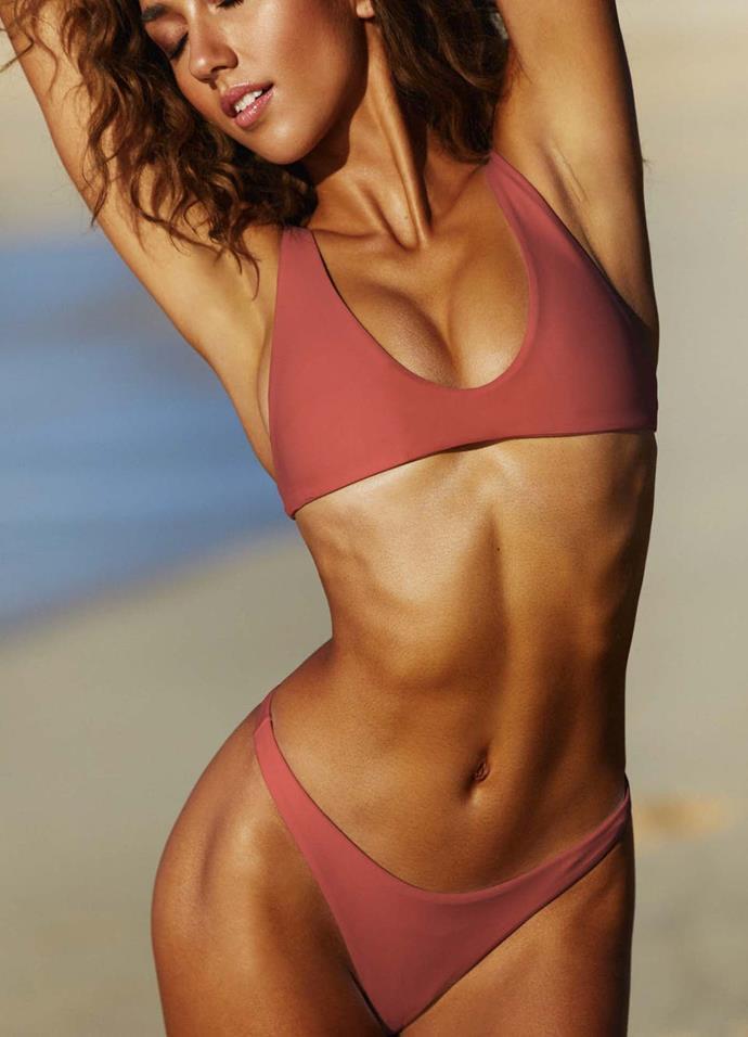 "Ark high v-cut bikini brief, $60. **[Buy it online here](https://www.arkswimwear.com/au/rust-high-cut-bikini-bottoms|target=""_blank""|rel=""nofollow"").**"