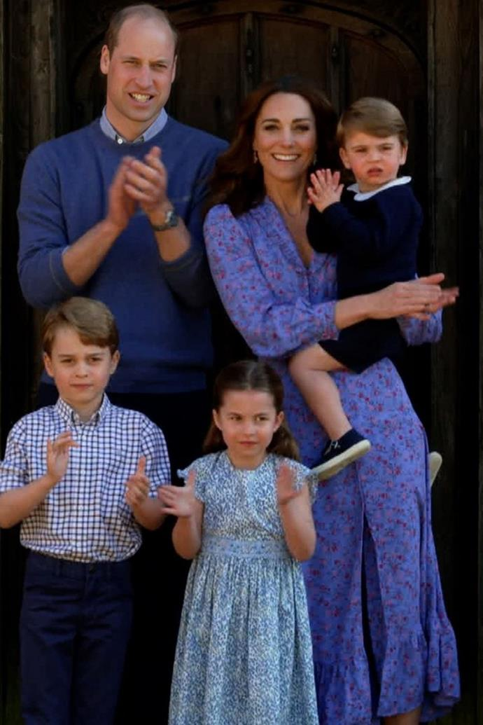 """The Cambridge clan gave the UK's medical frontline workers [a big hand](https://www.nowtolove.com.au/royals/british-royal-family/prince-george-louis-charlotte-clap-for-carers-63225