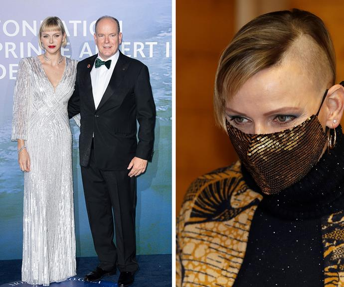 Before and after: Before shaving her head, Princess Charlene opted for a cropped blonde bob.