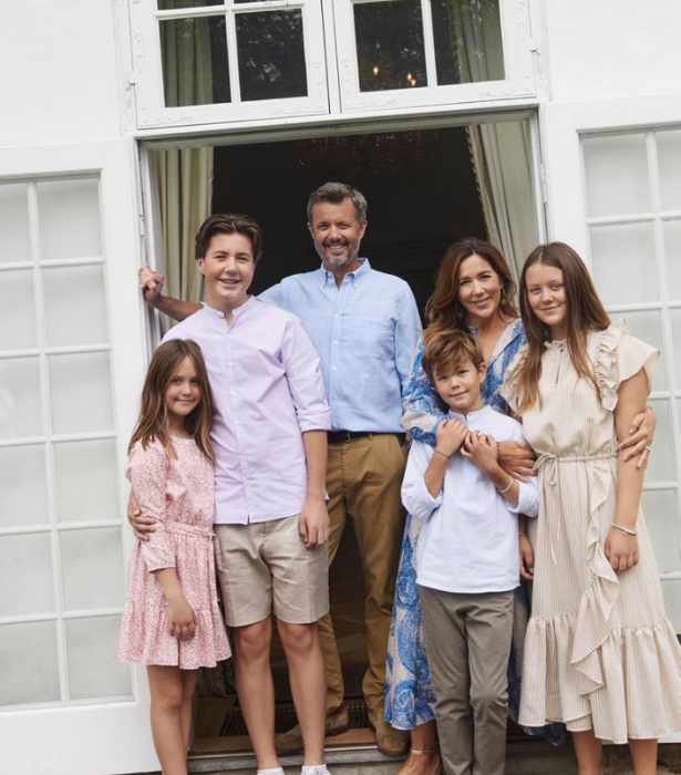 Princess Mary and Prince Frederik with their children at Gråsten Palace, the official summer residence of the Danish Royal Family.
